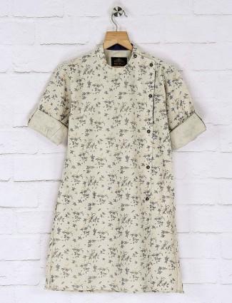 Printed pattern cotton fabric beige kurta