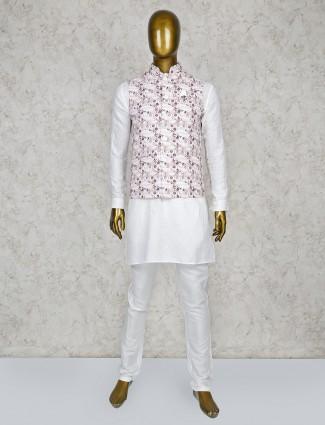 Printed pattern cream and white hue waistcoat set