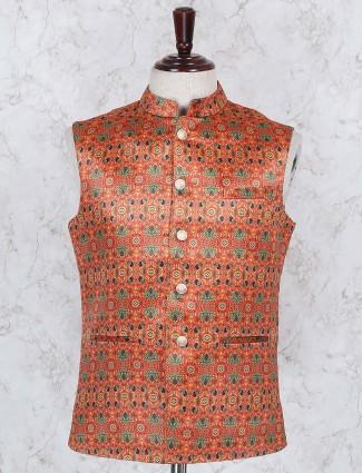 Printed pattern orange hued waistcoat