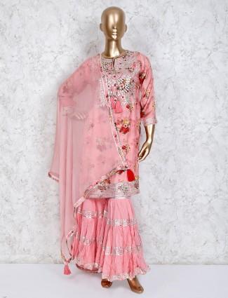 Printed pink cotton sharara set
