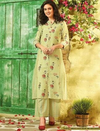 Printed pista green cotton casual salwar suit