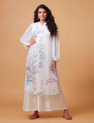 Printed pure georgette white kurti
