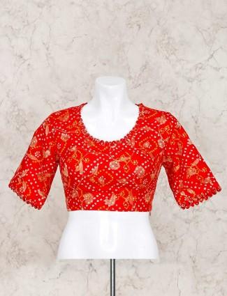 Printed red bandhej ready made blouse