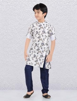 Printed white hued cotton kurta suit