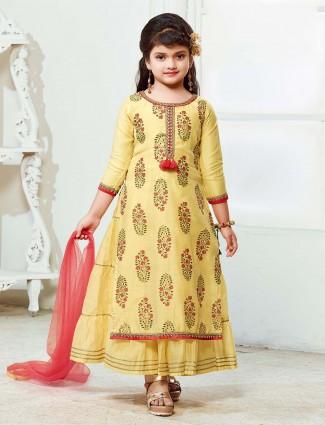 Printed yellow hue cotton fabric salwar suit