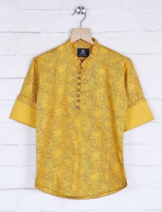 Printed yellow hue festive kurta