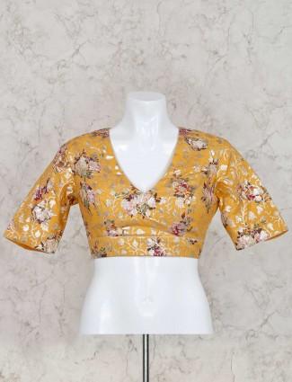Printed zari weaving yellow silk ready made blouse