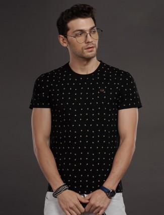Psoulz black printed half sleeves t-shirt