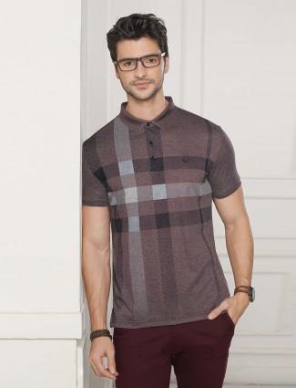 Psoulz brown checks mens t-shirt