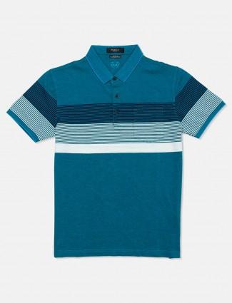Psoulz dark green stripe polo neck t-shirt