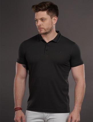Psoulz dark grey solid cotton t-shirt