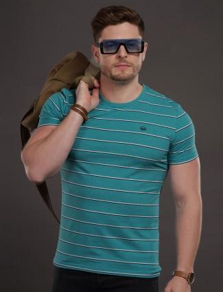 Psoulz green mens stripe t-shirt