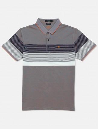 Psoulz mens grey stripe cotton polo t-shirt