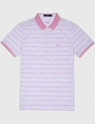 Psoulz pink striped pattern t-shirt