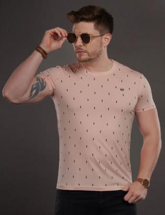 Psoulz printed slim fit peach t-shirt