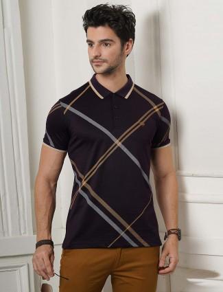 Psoulz purple checks pattern polo t-shirt