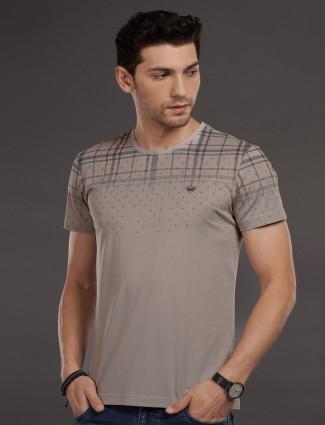 Psoulz slim fit beige printed t-shirt