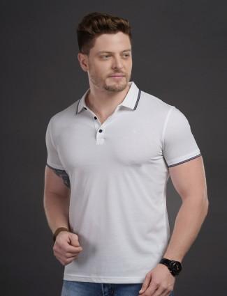 Psoulz solid white colour cotton t-shirt