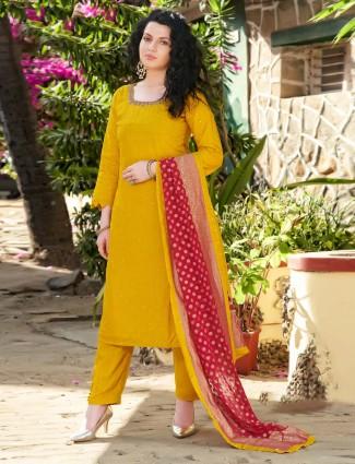 Punjabi gold cotton silk salwar kameez