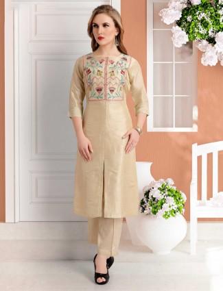 Punjabi pant style suit in beige cotton silk