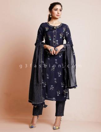 Punjabi printed cotton pant suit in cotton