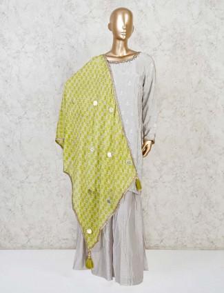 Punjabi sharara suit in grey cotton silk