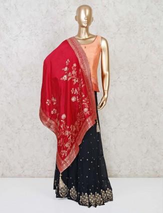 Punjabi sharara suit in peach raw silk