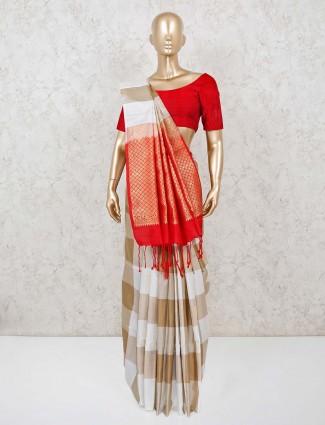 Pure silk white and beige reception wear saree