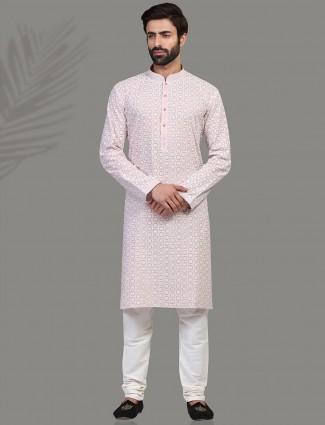 Purple chiakn thread kurta suit in cotton