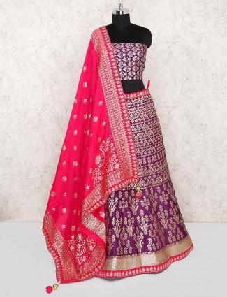 Purple color banarasi silk semi stitched lehenga choli