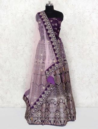 Purple color wedding wear silk semi stitched lehenga choli