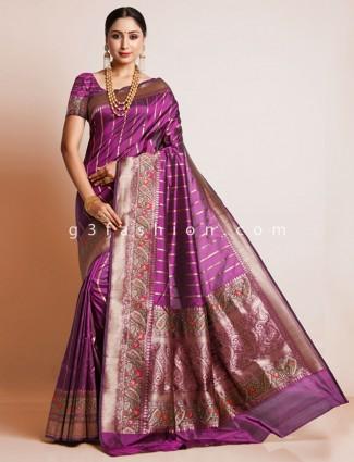 Purple colored pure silk saree