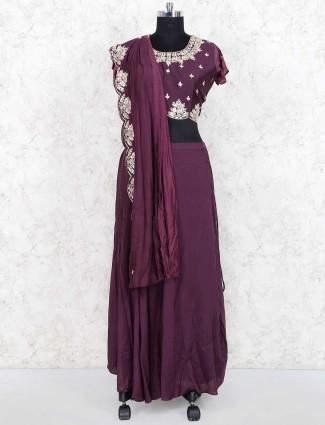 Purple cotton silk fabric party wear lehenga choli