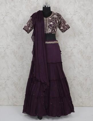 Purple georgette fabric wedding wear lehenga choli