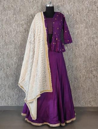 Purple hue jecket style silk lehenga choli