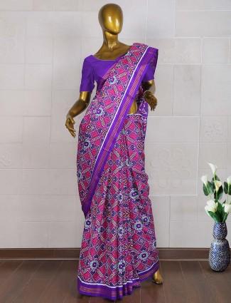 Purple hue patan patola wedding function saree