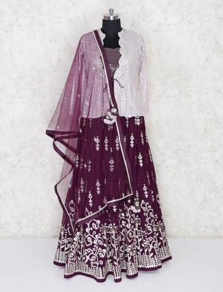 Purple jacket style lehenga choli for wedding in georgette