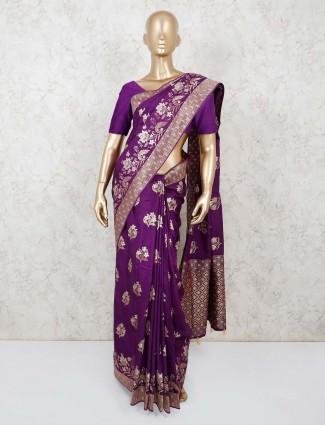 Purple muga saree for festival