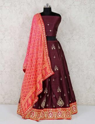 Purple raw silk semi stitched wedding lehenga choli