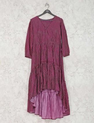 Purple satin silk long kurti in printed