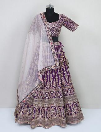 Purple silk designer wedding wear lehenga choli