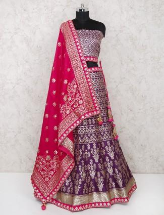 Purple silk fabric wedding semi stitched lehenga choli