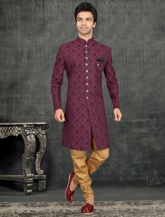 Purple terry rayon thread weaving indo western