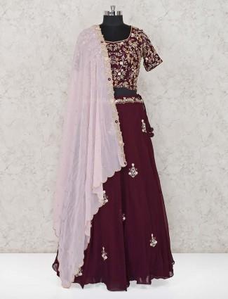 Purple wedding designer georgette lehenga choli
