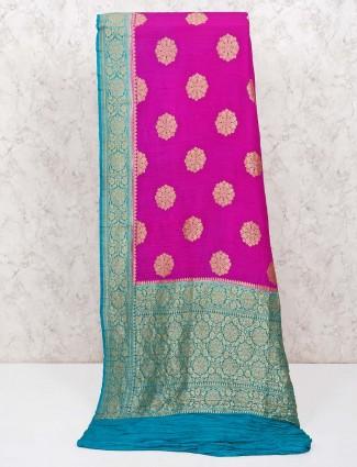Purple wedding saree in banarasi silk
