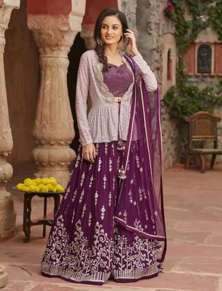 Purple wine jacket style wedding georgette lehenga choli