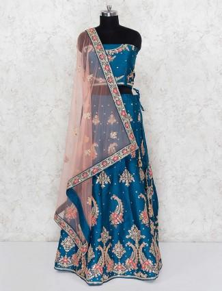 Rama blue raw silk fabric wedding wear lehenga choli
