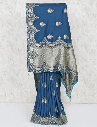 Rama green festive wear silk saree