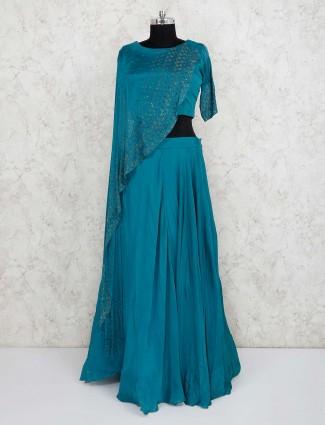 Rama green party wear satin lehenga choli