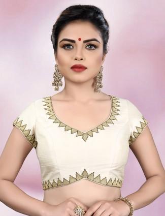 Raw silk fabric cream color ready made blouse